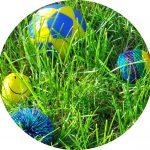 Foto: einige bunte, lustige Spiel-Bälle im Gras