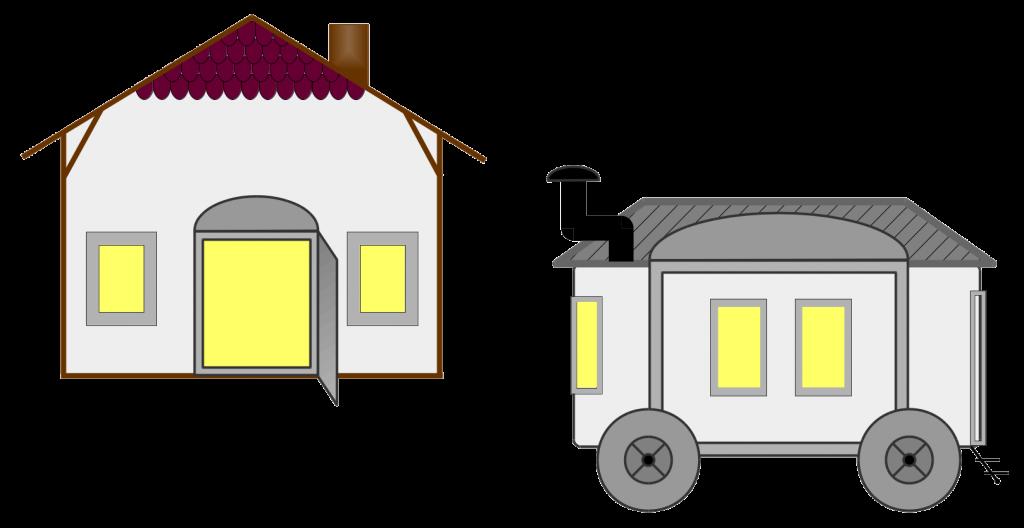 Abbildung eines kleinen Hauses und eines Bauwagens
