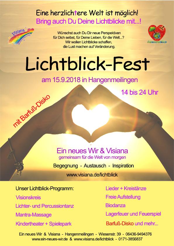 Foto: Plakat zum Lichtblick-Fest 2018 mit 2 Händen, die ein Herz formen, durch das die Sonne strahlt.