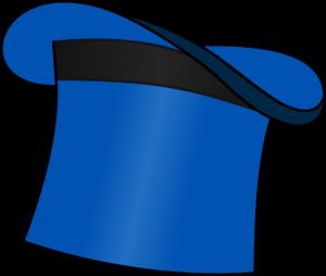 Abbildung: blauer Zylinderhut als Spendenhut