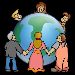 Clipart: Menschen umarmen die Weltkugel