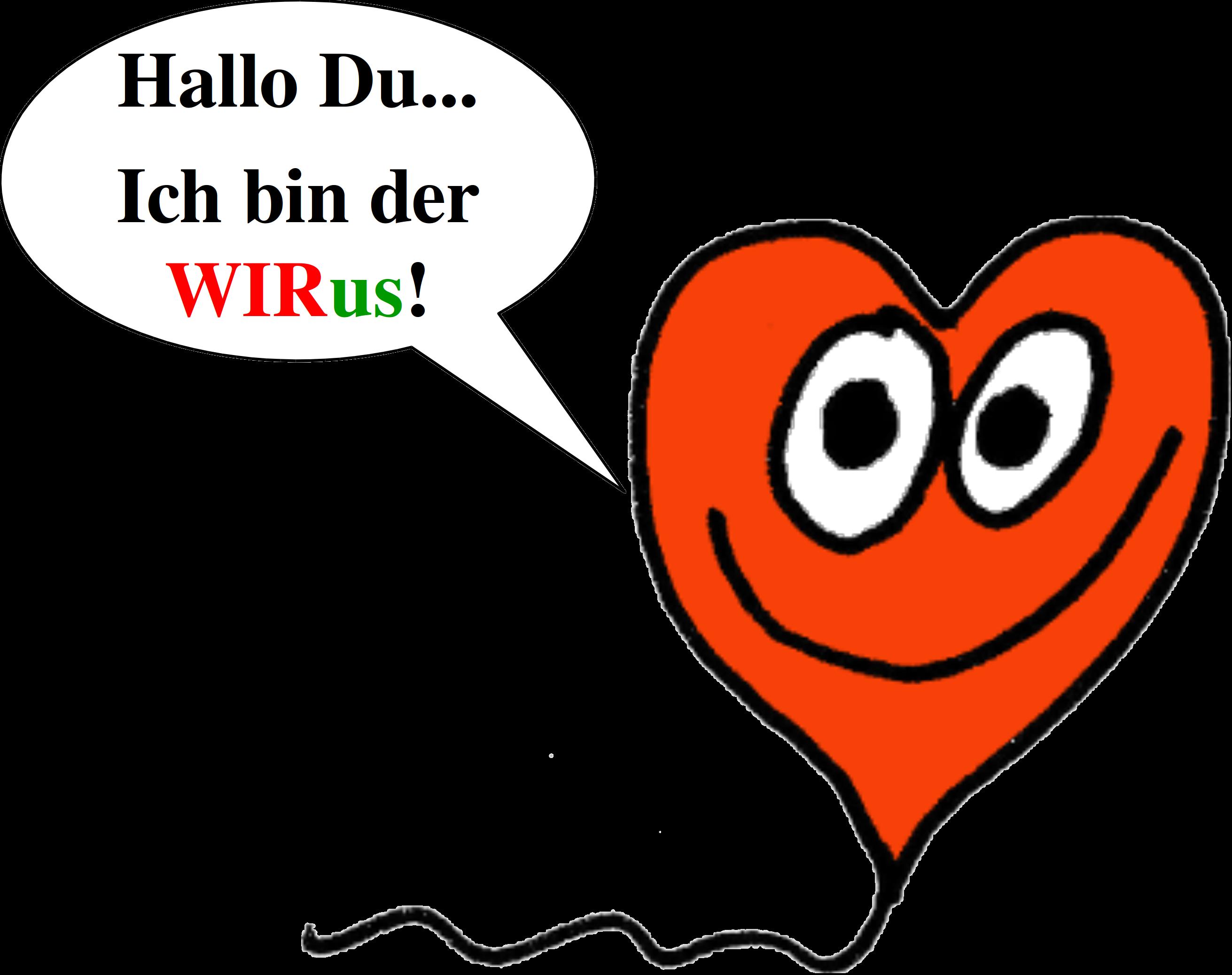 Der WIRus mit Sprechblase 'Hallo Du... Ich bin der WIRus!'